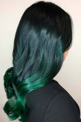 Black Roots with Dark Green Ombre