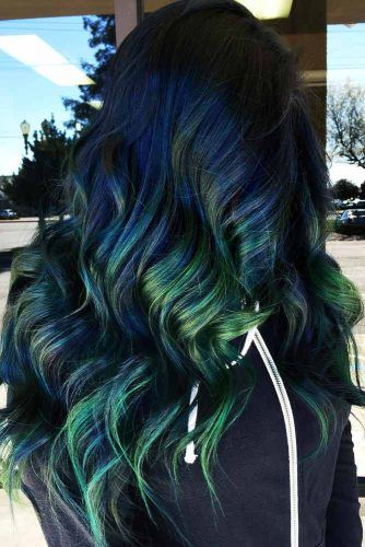 Green And Blue Highlights #greenhair #haircolor
