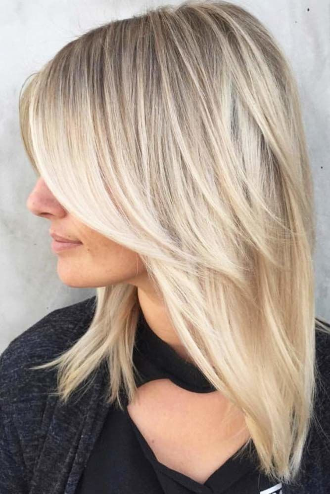 Center Parted Medium Length Hairstyles With Wispy Bangs Blonde #mediumhair #bangs