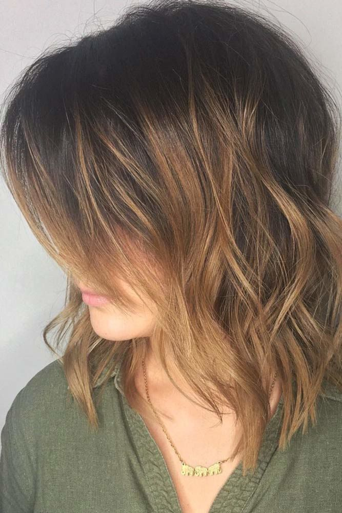 Flirty Side Swept Bangs Balayage #mediumhair #bangs