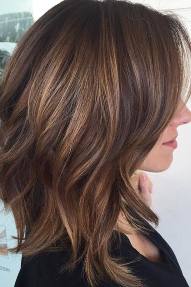 Medium Hairstyles With Long Bangs Caramel #mediumhair #bangs