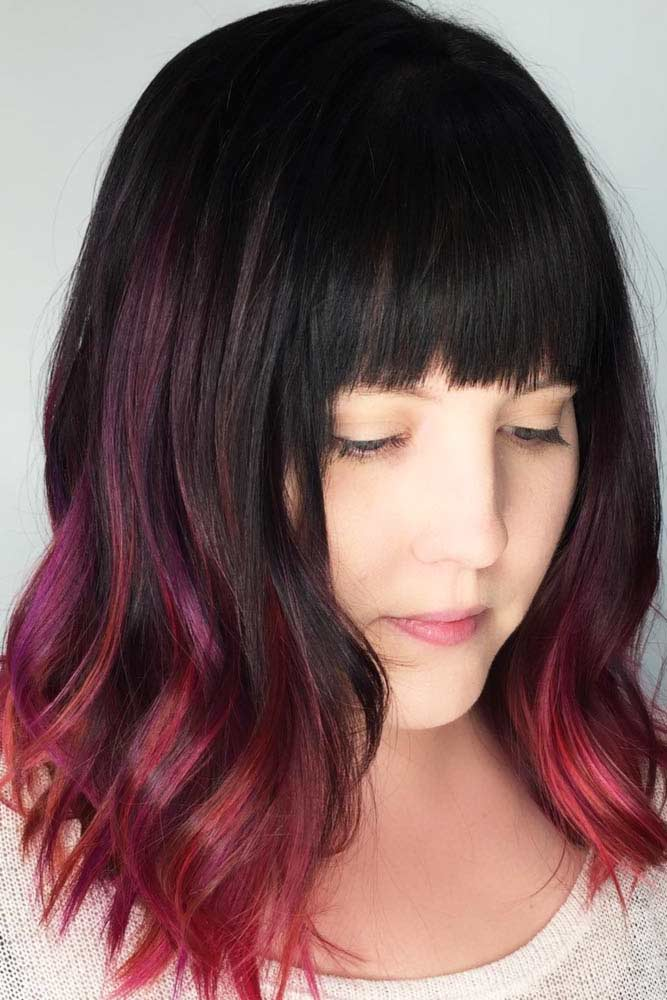 Medium Length Hairstyles With Blunt Bangs #mediumhairstyles #hairstyles #mediumlengthhairstyles #bangs