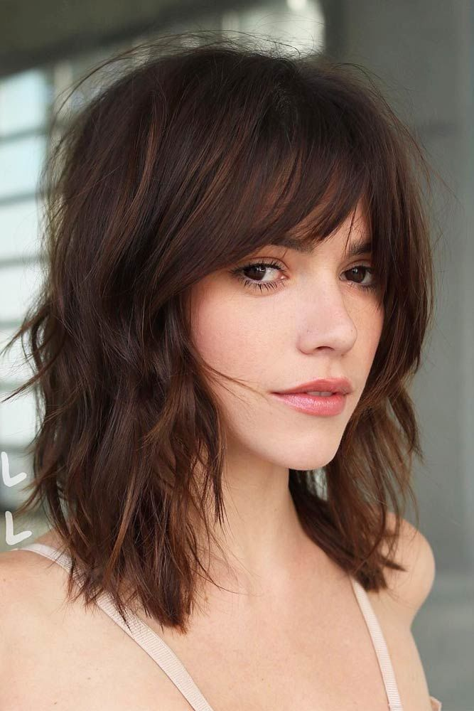 Center Parted Medium Length Hairstyles With Wispy Bangs Brown #mediumhair #bangs
