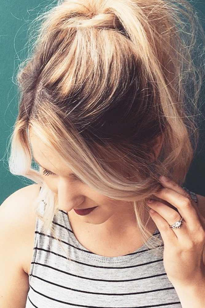 Ponytail Medium Length Hairstyles With Center Parted Bangs #mediumhairstyles #hairstyles #mediumlengthhairstyles #bangs
