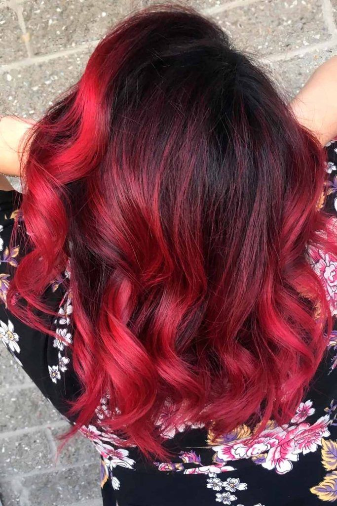 Red Saturated Color Ombre On Dark Long Hair
