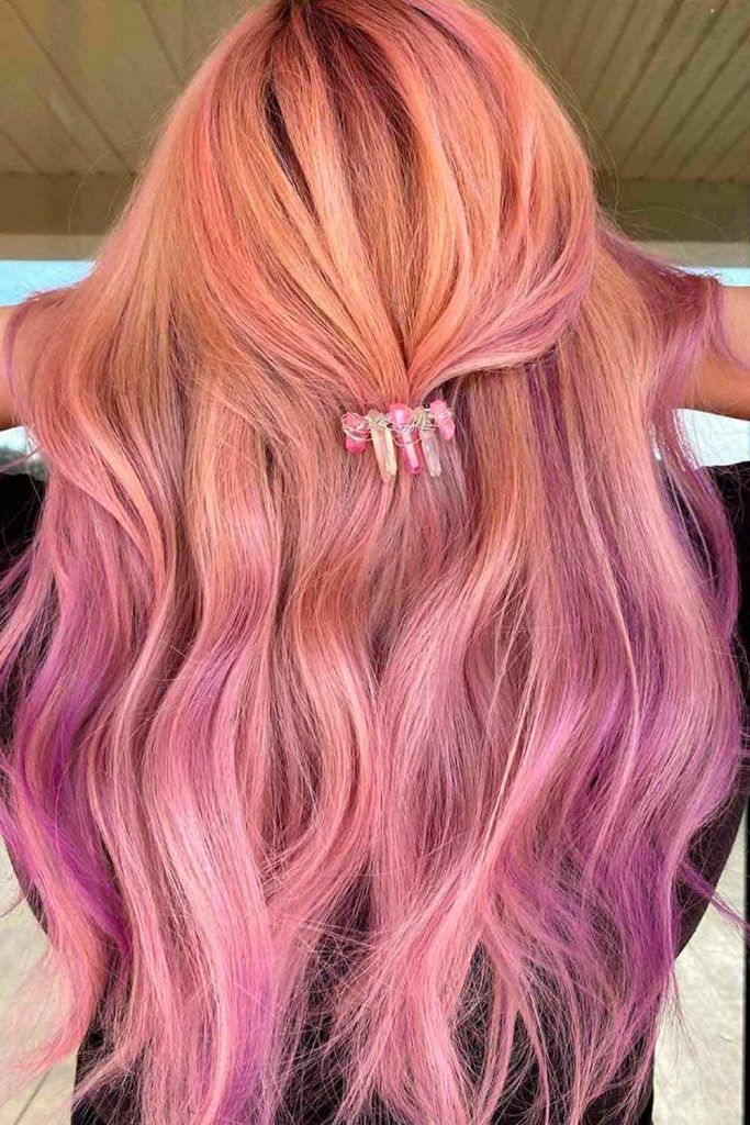 Light Red Hair Ombre With Lilac Highlights