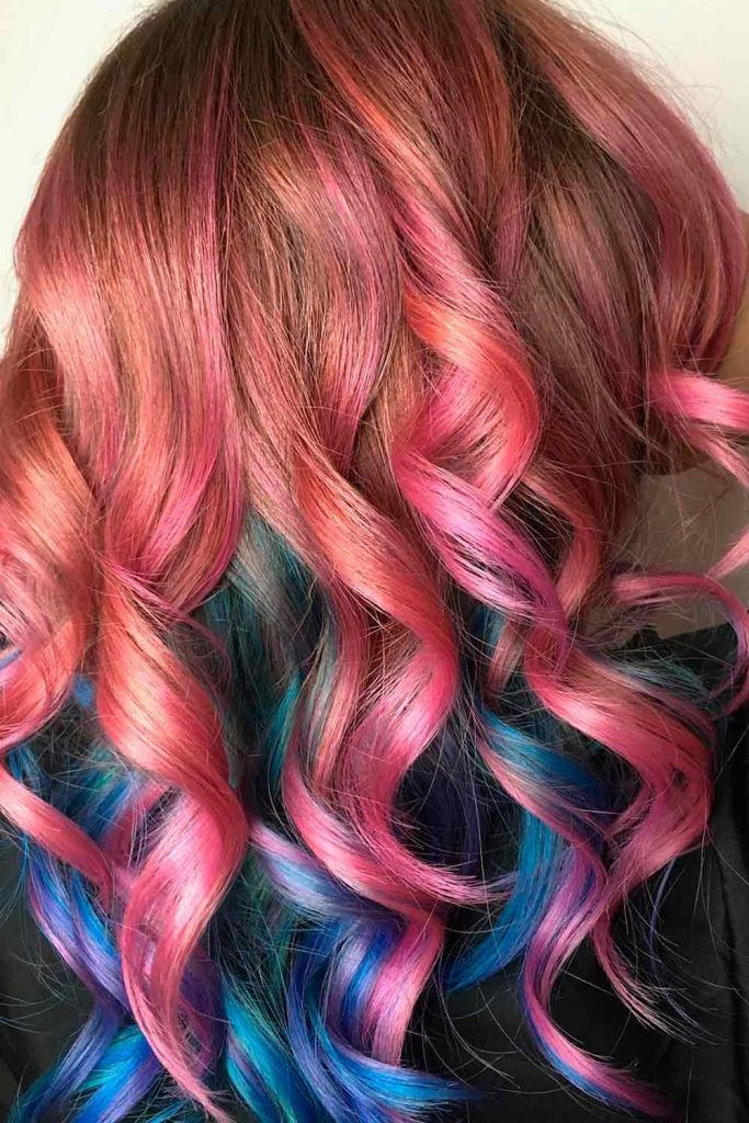 Amazing Red Ombre Hair With Blue&Purple Locks