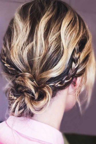 Updo Braids Hairstyles Low Bun #braids #updo #bun #shorthair