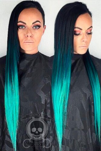 Turquoise and Raven Ombre