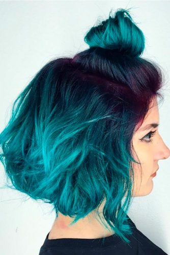 Turquoise Blue Ombre for Dark Brown or Chestnut Hair