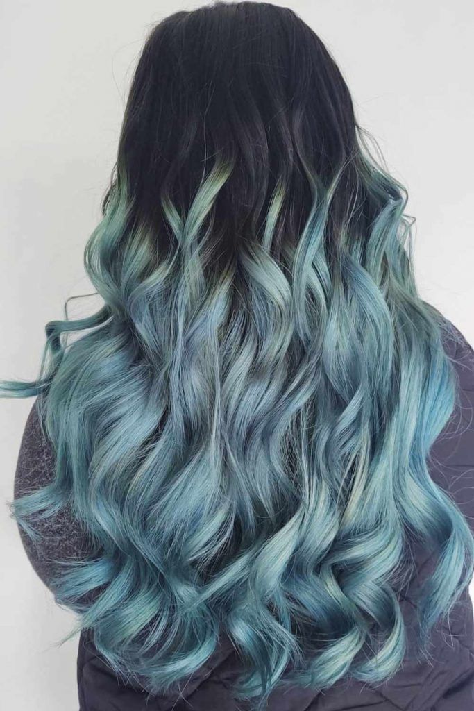 Brunette With Pastel Blue Ombre Hair #blueombrehair #bluehair #ombrehair