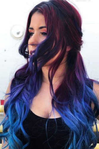 Blue Cherry Slush #redhair #bluehair