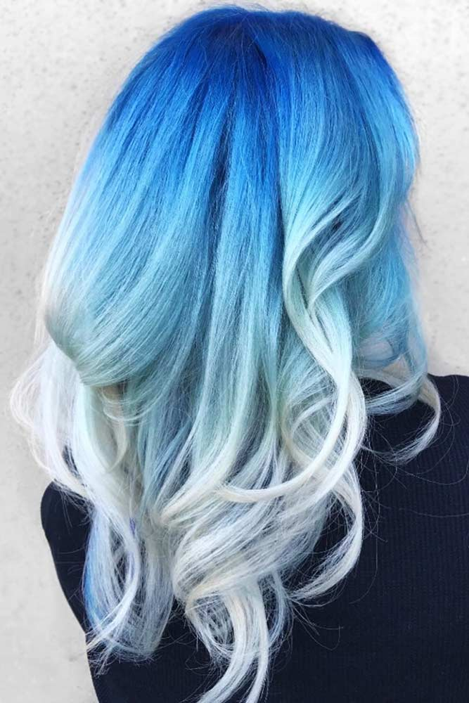 Blue Ombre Hair To Ice Blonde #bluehair #blondehair #ombre
