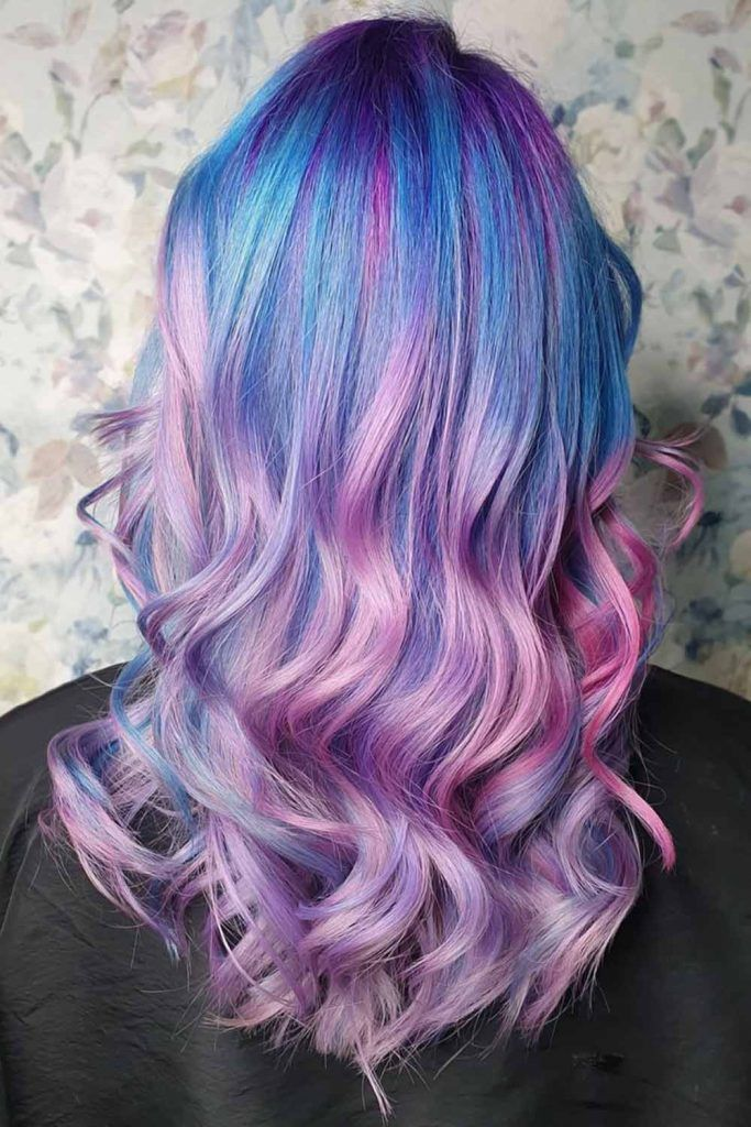 Pastel Blue Tips With Lavender Waves #blueombrehair #bluehair #ombrehair