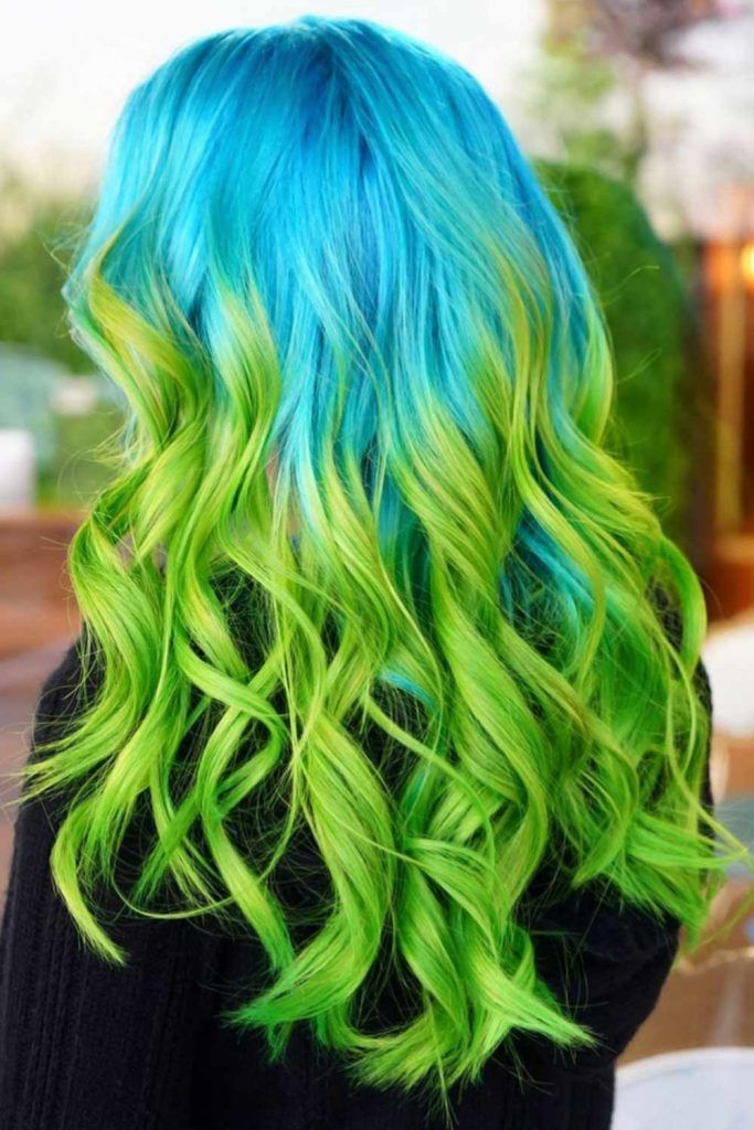 Blue Green Ombre Waves #blueombrehair #bluehair #ombrehair