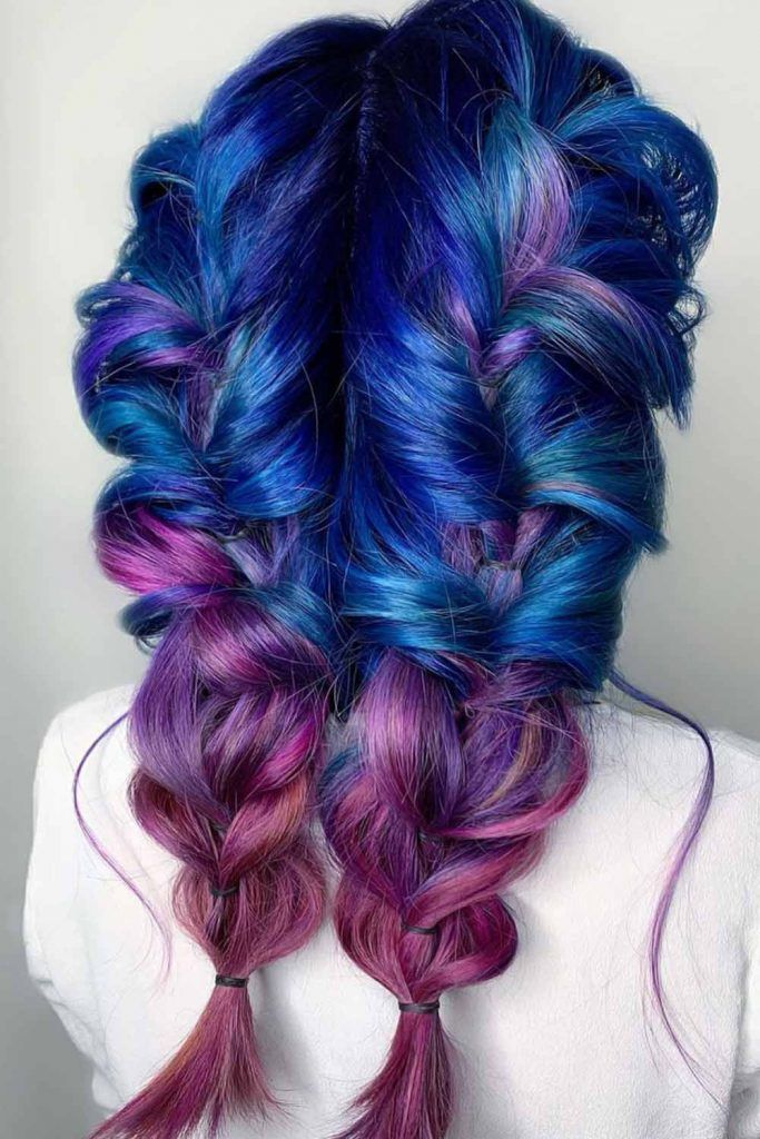 Purple And Blue Ombre Braids #blueombrehair #bluehair #ombrehair