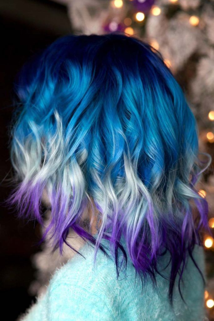 Moody Blue Ombre Hair Hues Triple #blueombrehair #bluehair #ombrehair