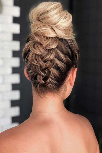 Braid Into High Bun #updo #mediumhair #hairstyles