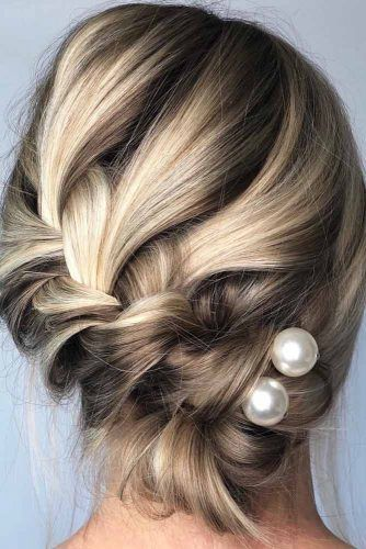 Braided Updo With Pearls #updo #mediumhair #hairstyles