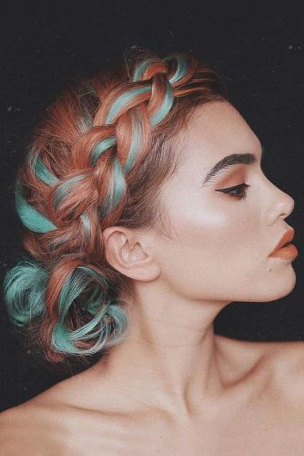 Colorful Braided Bun #easyupdo #braids #mediumhairstyles #brighthaircolor