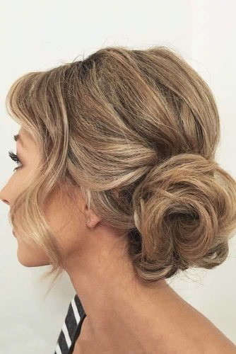 Updo With Long Fringe #updohairstyles #mediumhairstyles #easyupdo