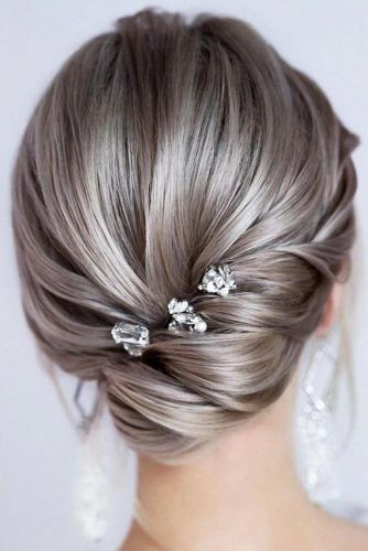 Silver Low Updo With Accessories #updo #mediumhair #hairstyles
