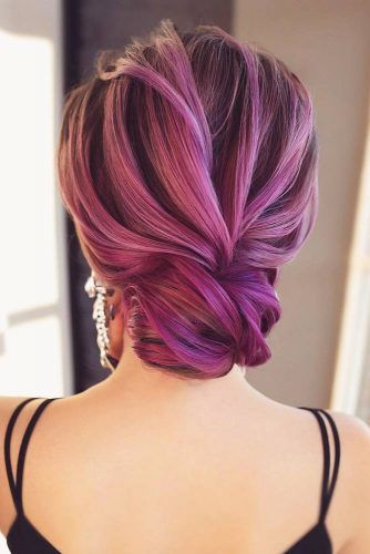 Bright Violet Low Bun #updo #mediumhair #hairstyles