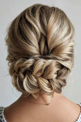 Low Braided Updo Hairstyles For Wedding #weddinghairstyles #hairstyles #updohairstyles #braids