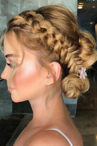 Side Braided Updo Hairstyles For Wedding #weddinghairstyles #hairstyles #updohairstyles #braids