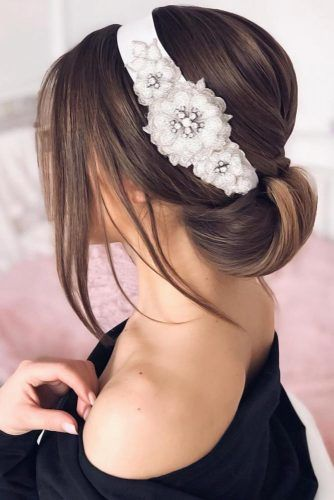 Updo With Headband Flowers #mediumhair #weddinghairstyles