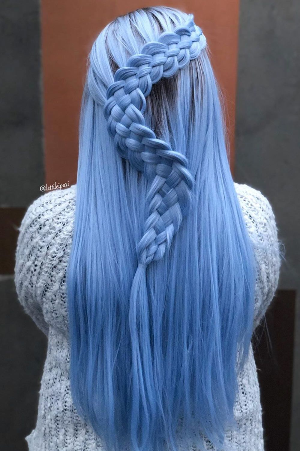 Long Blue Hair With Snake Braid