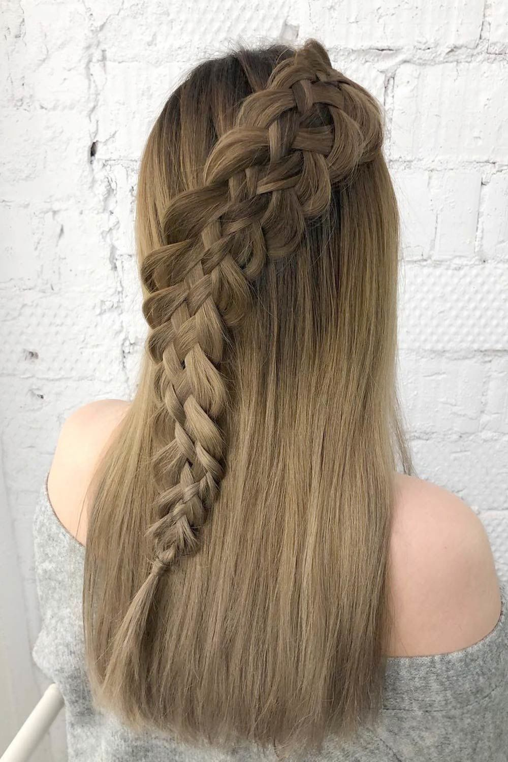 Half Updo Hairstyle With Snake Braid