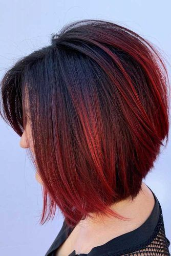 Black & Red Bob #ombre #darkhair