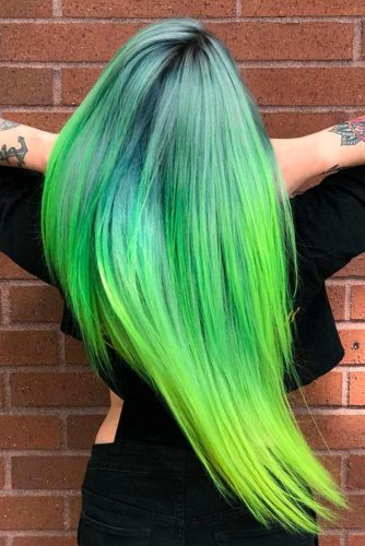 Amazing Green Ombre on Long Hair picture1