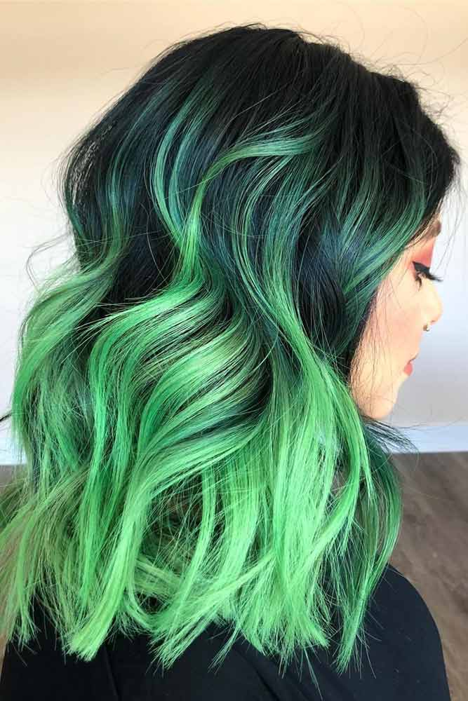 Side Parted Brunette To Green Ombre Hair #greenombrehair #ombrehair #haircolor