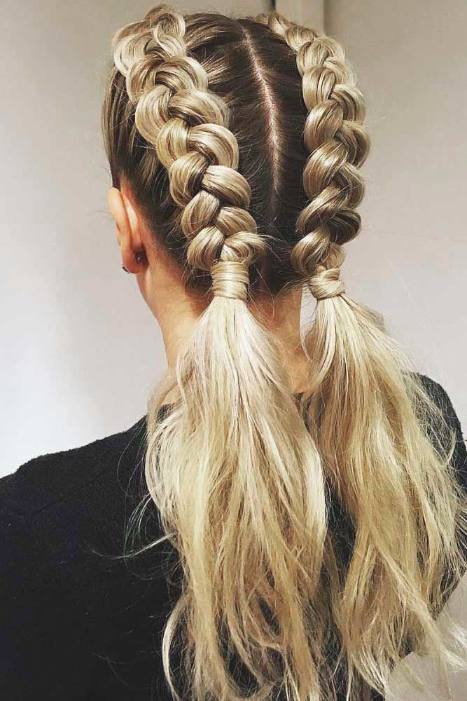 Beautiful Half Double Pigtails #braids #ponytail