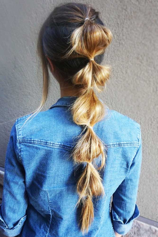 Bubbled Braid Pony Long #braids #ponytail