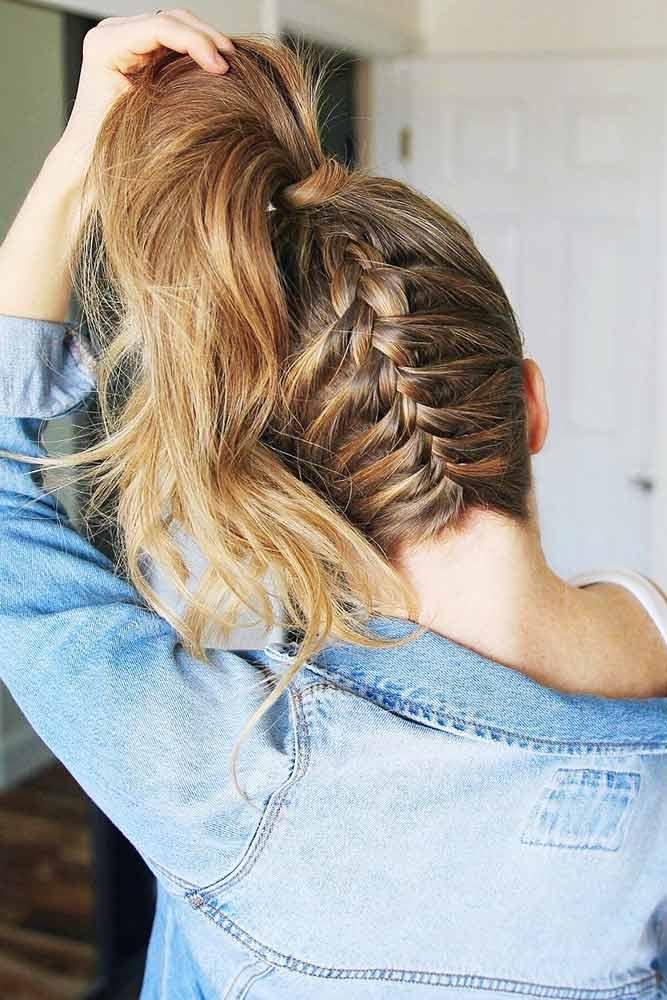 Add A French Braid To Your High Pony #braids #ponytail