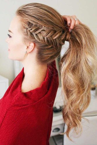Side Dutch Fishtail Braids #braids #ponytail