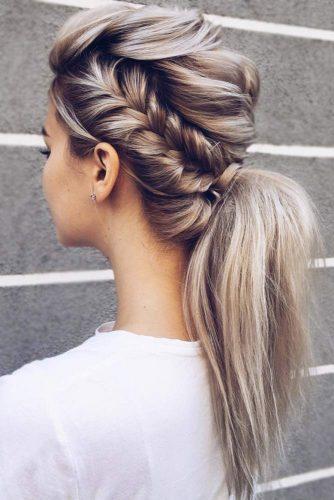 Add A French Side Braid To Your Pony #braids #ponytail