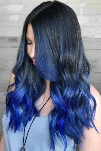 Black To Eclectic Blue Ombre