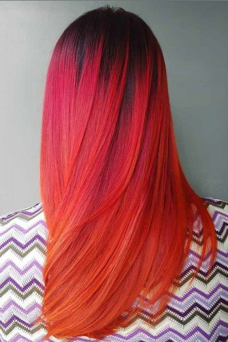 Brunette to Ruby Rouge, Coral Red, Orange