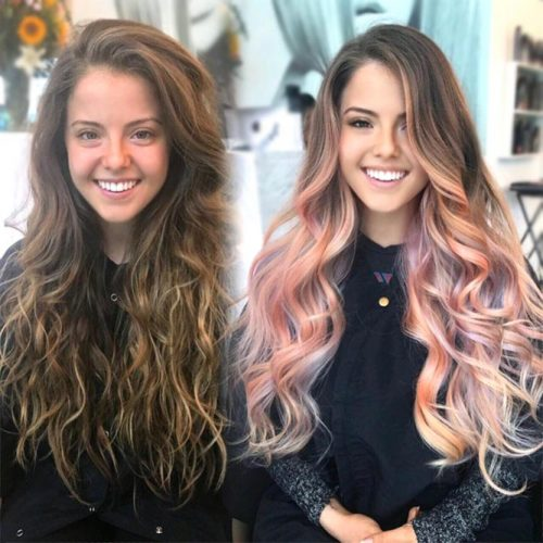 Brown To Rose Gold Wavy
