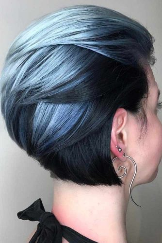 Angled Bob with Silvery Gray Waves
