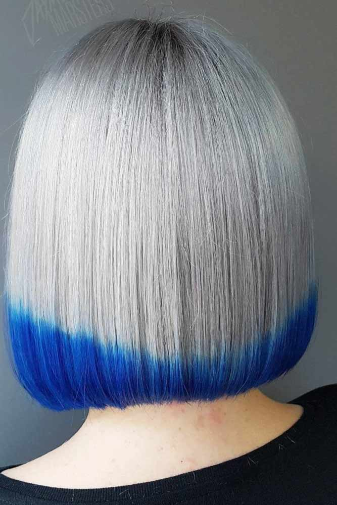 Platinum Blonde Bob with Blue Streaks