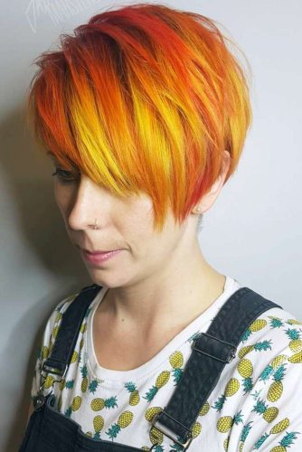 Short and Sassy Fiery Red Ombre