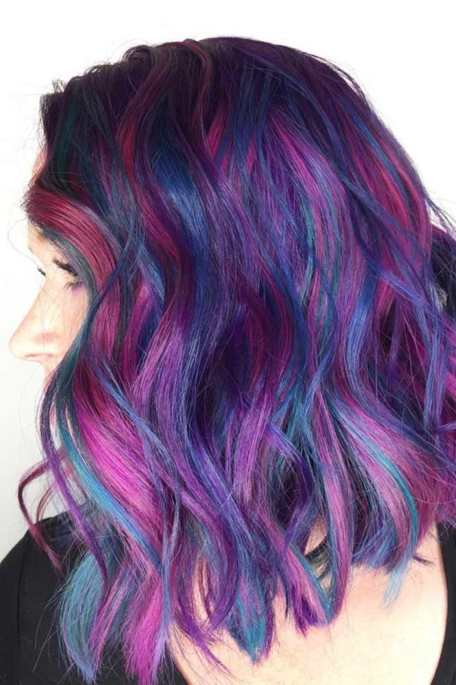 Tousled Bob With Dark Blue, Neon Pink, And Purple Streaks