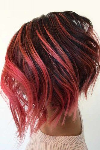 A-line Bob Hairstyle #ombre #brunette #redhair