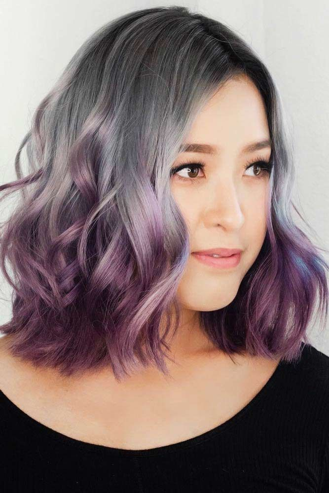 Grey With Purple #ombre #hairstyles