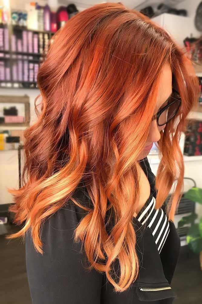 Peachy Balayage For Red #redhair